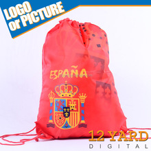 China Promotion Spain Customized Football Fan Cotton Drawstring Bag Gifts Fabric Mesh Drawstring Backpack GY-A72