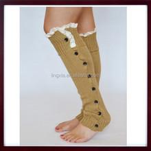 Women Winter Lace Trim Legging Socks Button Down Knit Boot Cover Leg warmer, crochet leg warmer ruffled leg warmers