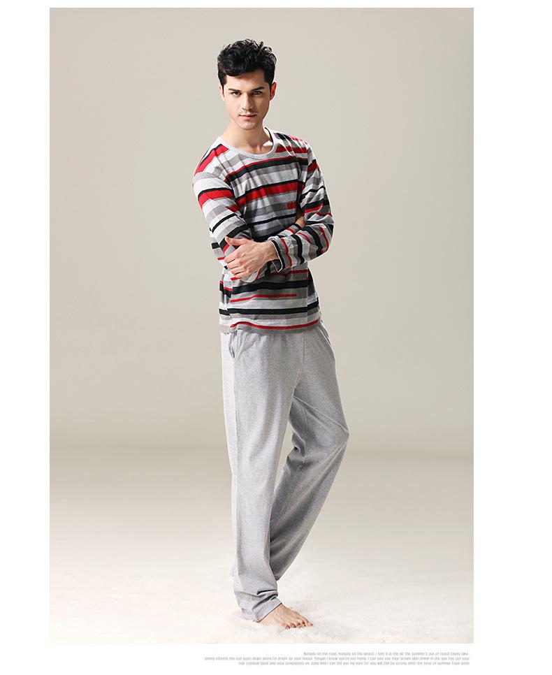 Qianxiu 2015 à manches longues printemps hommes vêtements de couchage en coton