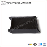 High Quality Black Square Snap PU Leather Folding Valet Tray