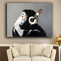 Modern 100% hand painted new popular products frameless oil painting canvas monkey Gorilla sitting room adornment art of art