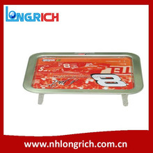 rectangle metal serving tray with legs, food serving tray with logo printing