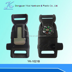 new design plastic whistle side release buckle fire starter buckle 1/2 curved whistle buckle