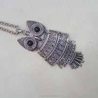 Trendy Women Fashion Silver Plated Owl Pendant Long Costume Chain Necklace