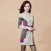 2015 new design for lady long sleeve round neck pattern knitting sweater dresses