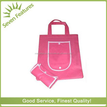 Pink Non Woven Wallet Shaped Folding Bag With Snap Button Pouch