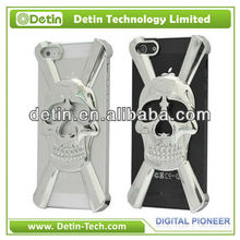 Newest Skull Designs Plastic Cell Phone Case, For iPhone 5 5G-Silver