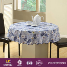 eco-friendly waterproof morden design pvc laimanted round table cloth, plastic round dining table cover