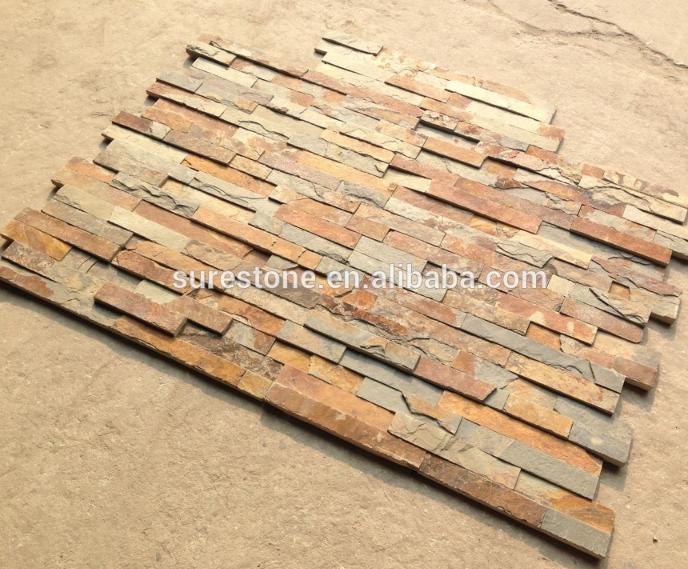Gỉ slate xếp chồng lên nhau nội thất đá tường ốp trang trí cảnh quan đá