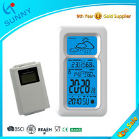 Sunny Digital Rf 433MHZ Wireless Weather Station Clock With Outdoor Sensor