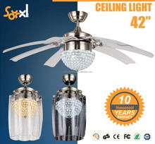 Remote control ceiling fan with crystal LED light 42 inches