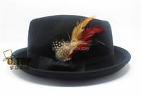 Fashion Men Women Feather Wool Felt black Fedora Hat cap