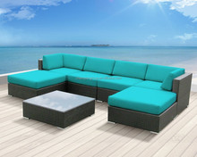 Luxxella Patio Mallina Outdoor Wicker Furniture 7-Piece All Weather Couch Sofa Set, Turquoise