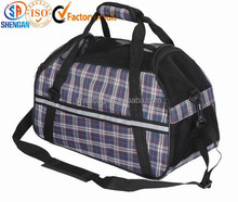 checked material traveling pet carrier bag with shoulder belt