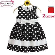 la niña de vestirse de blanco y negro vestido de polka dot soy niñas fotos hechas en china