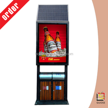 Rolling the trash box type is a new way for outdoor advertising, and the core technology is the use of side light source + solar