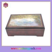 Antique wood music trinket case, musical jewel box
