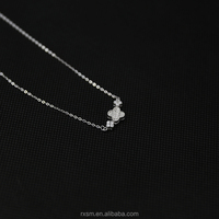 Zircon Necklace Set Four Leaf Clover Style S925 Sterling Silver Hearts&Arrows Party Leisure Simple Necklace