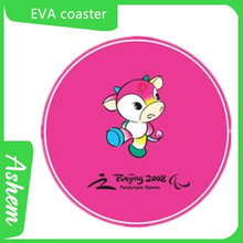 Pink coaster high quality new color EVA coaster with customized hotel Logo printing AS-165