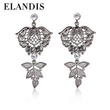 alloy diamond crystal needle stud earring