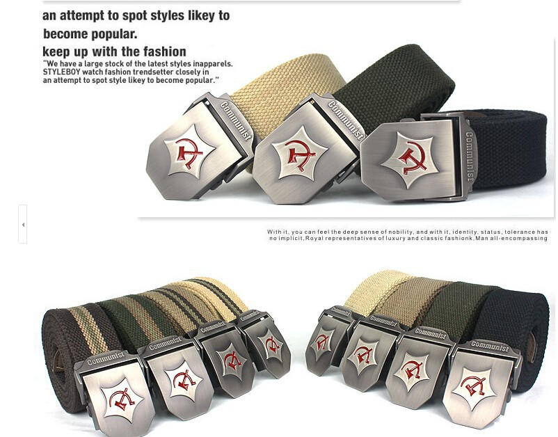 2015 New Men Belt Thicken Canvas Communist Military Belt Army Tactical Belt High Quality Strap 110 130 cm 12 Colors