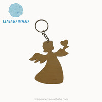 Olive wood Key chain ,Angel key chain,hand made olive wood carving angel key chain