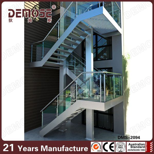 Charmant Exterior Outdoor Steel Staircase With Mild Steel Railing Grill Design.  DMS 2094