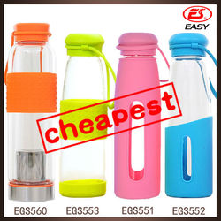 Promotional nice sleeve portable sale best glass water bottle with cap