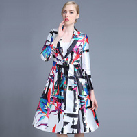 2015 Autumn 100% Polyester Flowers Printing Turn-down Collar Single Button A-line Trench Coat 7B10