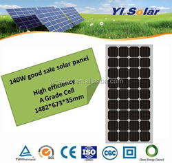 good price and high efficiency 140w monocrystalline silicon material solar panel with ISO TUV SGS CE IEC CEC all certifications