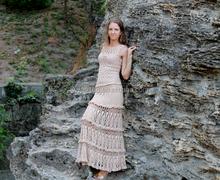 2015 new design hot sale maxi skirt in natural beige long women crochet skirt amazing knitted skirt