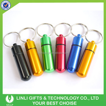 Promotion Gift Customized Logo Mini Pill Container Key chain,Pill Holder Keyring,Container Key holder