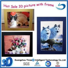 hot sale Hight quality PET 3d lenticular pictures with black/white/gold frame natural animation hologram printing for decoration
