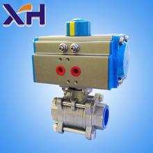 2015 popular Pneumatic ball valve DN40 Three pieces stainless steel pneumatic ball valve 304 stainless steel