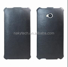 Black Flip Leather Case Covers for HTC M9, Wake-up Function, OEM/ODM Orders Available