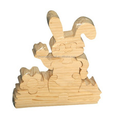 DIY wooden toy rabbit with shrink wrapping packing
