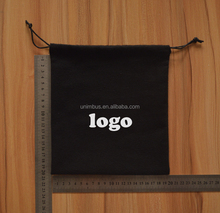 Black soft brushed cotton drawstring bag with wax cotton rope