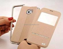 For samsung galaxy s6 kxx metal bumper case+pu leather cover for samsung galaxy s6 edge