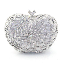 Fruit Shape Crystal metal Lady fashion Bridal Wedding hard Evening purse clutch bag with AB crystal