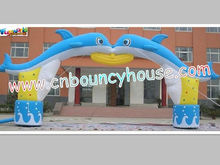Promotion inflatable arch door with dolphin for advertising
