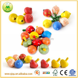 Promotional cute colorful fruit wooden toy whipping top spinning top