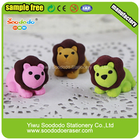 Wholesale 3D Custom Cute Animal Shaped Lion Eraser