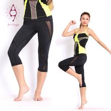 De moda suave cómodo negro pierna ancha capri pantalones de yoga de la muchacha