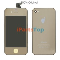 Wholesale Colored Conversion Kit For iPhone 4S Mirror Gold LCD Screen Assembly + Back Cover Assembly + Home Button Full Set