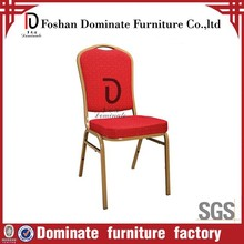 Red fabric gold restaurant dining banquet chair