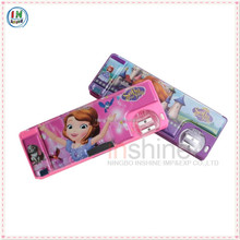 PVC plastic cartoon students pencil case with pencil sharpener