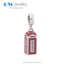 925 Wholesale Sterling Silver Charms Telephone Booth For Bracelet Charms S123