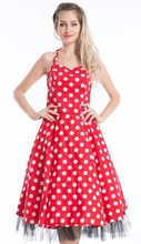 NEW VINTAGE FIFTIES STYLE white dot in red dress SWING DRESS ROCKABILLY 1950's PINUP
