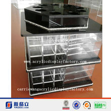 hot sale best price factory pop new style add diamond black and clear acrylic rotating lipstick display stand