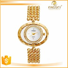 2015 kingsky 4551# turnable big dual case lady fashion jewelry watch with diamonds